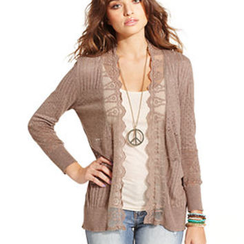 American Rag Juniors Sweater, Long Sleeve Lace Pointelle-Knit Cardigan - Juniors Sweaters - Macy's