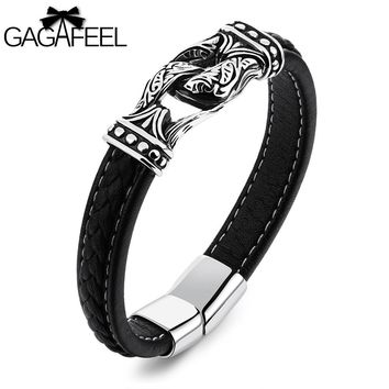 GAGAFEEL Men Magnetic Bracelet Stainless Steel Cowhide Leather Jewelry Cool Bangles Black Rope Chain  gifts for Boyfriend