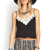 FOREVER 21 Embroidered Crochet Knit Cami Black/White Large