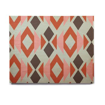 "Pellerina Design ""Coral Mint Triangle Weave"" Orange Teal Birchwood Wall Art"