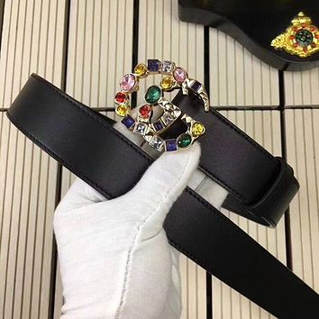 GUCCI Stylish Women Personality Color Crystal Smooth Buckle Leather Belt I-RSG-PJC