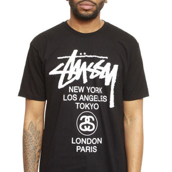Stussy, World Tour T Shirt - Black/White