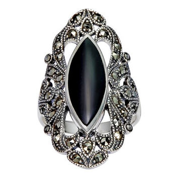 925 Sterling Silver Filigree with Marcasite and Black Onyx Gemstones Ring - Size 9