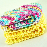 Handmade Dish Cloths - Pretty Pastels - 100 Percent Cotton - Hand Knit Wash Cloths and Dish Cloths - Pink Yellow White Purple Teal