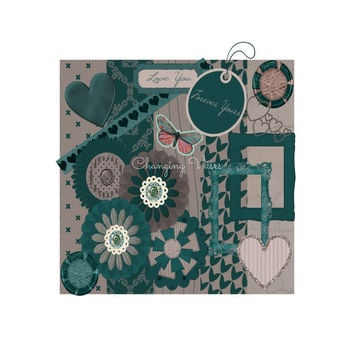 Digital Scrapbooking Kit Teal Love Set with Damask Houndstooth Wood Paper Flower Word Art Frames Buttons Brads Butterfly Ribbon Bow Heart