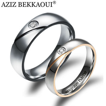 Couple Rings Engrave Name Wedding Rings For Women Men CZ Diamond Loves Rings 316L Stainless Steel Engagement Promise Jewelry