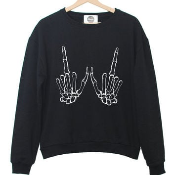 SKELETON HANDS sweater jumper t shirt top sweatshirt swag tumblr grunge punk retro fashion vtg hipster womens fresh new paris wasted indie