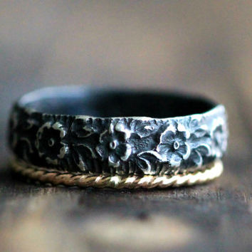 Wide Flower Patterned Recycled Silver Band & Twisted 14K Gold Filled Stacking Ring w Secret Message