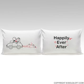 Happily Ever After™ Bride & Groom Pillowcases, His and Hers Wedding Gifts for Bride and Groom, Newlywed Couple, Him, Her, Husband, Wife, Engagement, Bridal Shower
