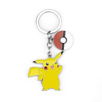 HOT ! Pokemon Pikachu Ash Ketchum Keychains Metal Figures Pendants Key Chains key fashion accessories Eevee or Pikachu baby egg