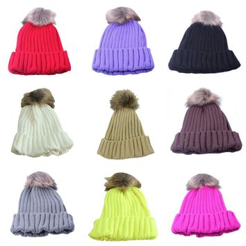 New Women Winter Wool Hat Rabbit Fur Ball Beanie Hat Knitted Warm Hat  Cap