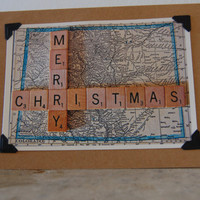 Christmas card Holiday photo card Vintage style vintage Colorado map scrabble tile message blank inside