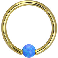 Solid 14KT Yellow Gold Blue Synthetic Opal Captive Ring - 14 Gauge 3/8"