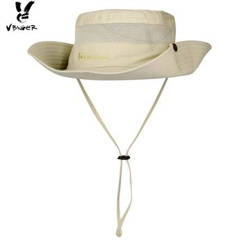 VBIGER Adjustable Summer Bucket Hat Turnuped Outdoor Fishing Fishermen Hat Flat Large Wide Brim Sunproof Visor Hat with Strap