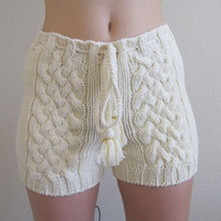 Hand knitted cute cable knit shorts in cream white by fuzzybazooke
