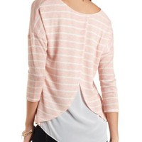 Layered Sweater Knit & Chiffon Top by Charlotte Russe - Blush Combo