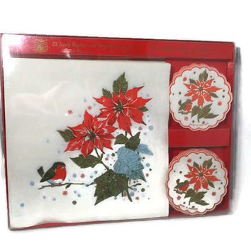 Vintage Christmas Napkins Coaster Set - Paper Hostess Set, Holiday Party Decor, English Christmas Paper Goods, Poinsietta Coasters, Dripmats