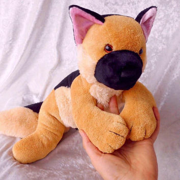 Unique GERMAN SHEPHERD Dog plush Handmade puppy stuffed animal GSD home decor Alsatian soft toy gift collectible dog breeds kennel mascot
