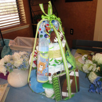 Large Football Diaper Cake Centerpiece Green and Blue Baby Boy Shower Gift Diaper Cake Themed Baby Shower Decoration Square Diaper Cake