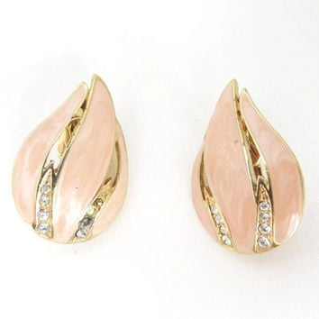 Vintage Trifari Earrings Enamel and Gold Leaf with Rhinestones Clip-ons, Christmas Gift For Her