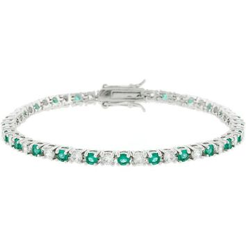 Fara 5ct Emerald and Clear Crystal White Gold Rhodium Tennis Bracelet