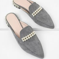 Faux Pearl Pointed Toe Flats -SheIn(Sheinside)