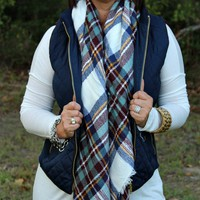 Ivory, Mint and Navy Plaid Blanket Scarf