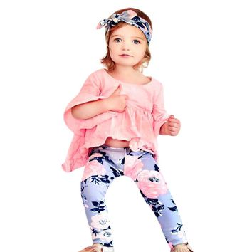 2pcs Ruffle Long Sleeve Fold T-shirt Floral Print Pants New 2017 Newborn Baby Girls Clothes Leggings 2pcs Outfits Clothes Set