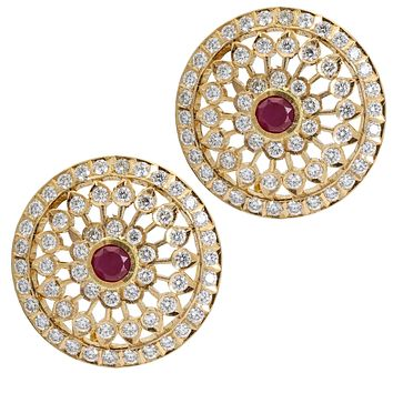 Ruby and Diamond Statement Stud Earrings in 14k Yellow Gold ( 2.35 ct t.w. )