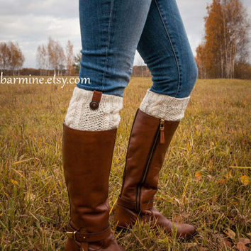 Boot socks, Off-white Boot Cuff with leather and wooden button, Cable Knit Boot Topper, Knit Fashion Accessory, Winter Accessories