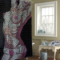 mosaic women custom shower curtains that will make your bathroom adorable