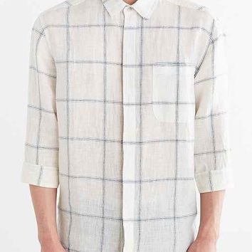 Your Neighbors 3/4-Sleeve Windowpane Linen Button-Down Shirt