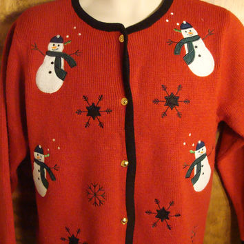 Merry Snowmen Tacky Christmas Sweater