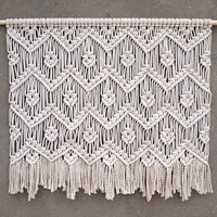 Large macrame wall hanging Large wall decor Living room home decor Woven tapestry White tapestry Bohemian decor Housewarming gift for her