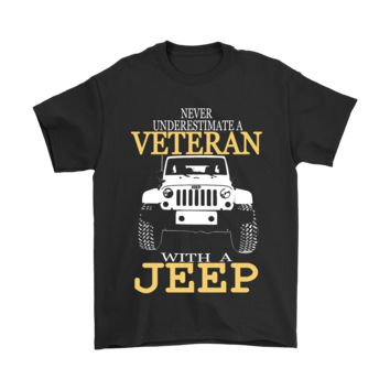 ESB8HB Never Underestimate A Veteran With A Jeep Shirts
