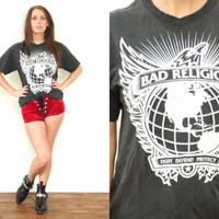 Vintage 90s BAD RELIGION Eagle World Black T Shirt Tee // Biker Rocker Metal Punk Hipster Grunge // XS / Small / Medium