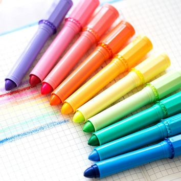 10 color Bling Bling Lipstick highlighter pen Water-based crayon marker Stationery Office accessories School supplies 6607