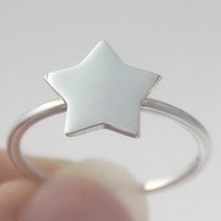 Silver Star Ring, 925 sterling silver Stacking ring, Statement ring, symbol, Cosmos