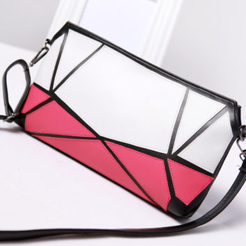 New Casual Clutch handbag fashion leisure PU leather Plaid shoulder spell over take dinner Evening Bags