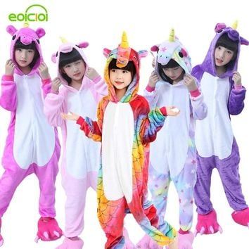 Flannel winter Pegasus christmas pajamas pink unicorn pajamas for girls cartoon animals Hooded sleepwear Onesuit Boy pyjamas kids
