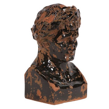 Howard Elliott Collection 95013 Rustic Ceramic Glazed Ancient Roman Male Bust Sculpture
