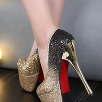 Dancing Party Sequin Waterproof Heels Shoes