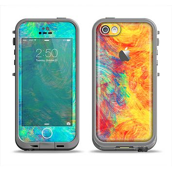 The Vibrant Colored Messy Painted Canvas Apple iPhone 5c LifeProof Fre Case Skin Set