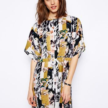 ASOS Shift Dress In Floral Patchwork Print