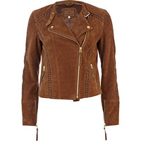 Brown suede whip stitch biker jacket