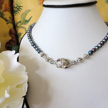 beaded pearl necklace, silver bead pearl necklace, women pearl necklace, freshwater pearl necklace, pearl strand necklace, peacock blue