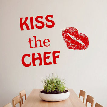 Kiss the Chef Lips Cafe Kitchen Wall Decals Decal Vinyl Sticker Wall Decor Home Interior Design Art Mural M1022