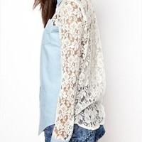 Sweet Crochet Lace Spliced Denim T-shirts
