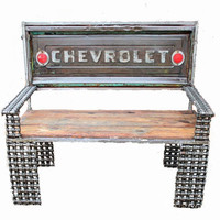 Chevrolet Tailgate Bench, Rustic Furniture, Made With Reclaimed Wood By Recycled Salvage Design