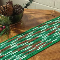 Red Green Abstract Table Runner - Handmade Crochet Decor by RSS Designs In Fiber